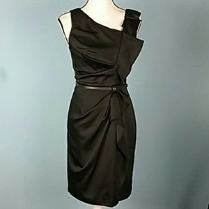 Max and Cleo black dress fitted Ruffles belt
